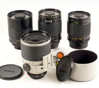 Group of Four Canon Fit Mirror Lenses. Comprising Opeka 500mm f8 with EOS T-mount; Centon 500m f8