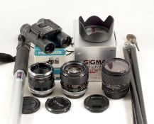 Two Fast Canon FD Fit Lenses, Plus Extras. Comprising Canon FD 85mm f1.8 SSC lens (condition 5E) and