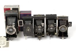 Group of Kodak & Other Folding Cameras, Some Boxed. Several with cases. (conditions 4F & 5F). (