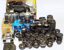 End-Lot of Cameras, Lenses & Accessories. To include Pentax SV and SP II cameras (condition 6G) plus