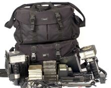 Two Large Tenba Camera Bags and Contents. To include three Metz 60CT-4 Flash Units (untested) leads,