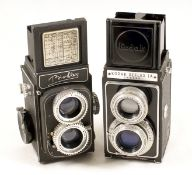 Two Uncommon 120 TLR Cameras. Comprising a first model Alsaphot Bioflex, a failed 1950s French