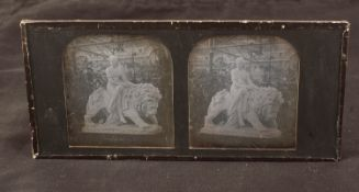 Stereo Daguerreotype of Una & The Lion Statue at the Crystal Palace. John Bell's sculpture at the