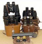 Small Group of Binoculars. To include Ross Solaruoss 9x35, Pathescope 10x50 etc. (all condition 5/