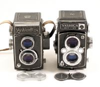 Two Metered Yashica 120 TLR Cameras. Comprising an uncommon Yashicaflex S (meter working,