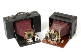 Two 1/4 Plate Red Bellows Folding Cameras. Comprising a Kodak No.3 Folding Brownie (condition 5F)