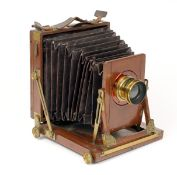McKellens Double Pinion Treble Patent Half Plate Camera, in Need of Restoration. Bellows poor and