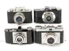 Group of Four 35mm Cameras. Royer Savoy, the original version where the front had to be removed to