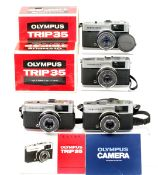 Group of Four Olympus Trip 35 Compact Cameras. All with 'Red Flag' warning operational. (condition