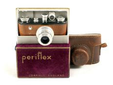 Black Periflex I, Early Model with Pig Skin Covering. (condition 5F). Fitted with Lumar 50mm f3.5