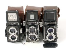 Group of Three 120 TLR Cameras. Comprising Bioflex, Meopta Flexaret Model VII and an uncommon