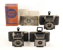 Three Ensign Midget Folding Cameras. One boxed, with Instructions etc. All with cases. (condition