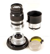 Two Leica L39 Screw Mount Lenses. A Summaron 3.5cm f3.5 lens (condition 5F) in keeper and a black