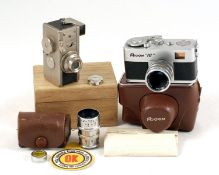 Two Sub-Miniature Cameras. Steky Mod III (early version, MIOJ) with cap, instructions, filter in