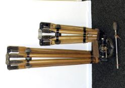 A Pair of MASSIVE Wooden Tripods (Probably by Vinten). Large and medium versions (condition 6, but