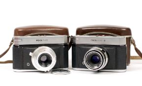 French Focaflex I & II Cameras. Each with 5cm f2.8 lens. Model II with uncommon, interchangeable
