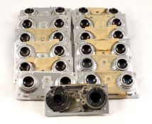 Thirteen Lens & Shutter Panels from Revere Stereo Cameras. For spares or repair only as shutters run