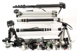 A Useful Collection of Small Tripods, Heads & Accessories. (Cabinet F)