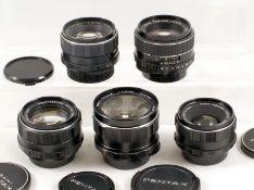 Group of Five Pentax M42 Screw Mount Lenses. Comprising Super Takumar 50mm f1.4; SMC Takumar 55mm