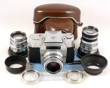 Agfa Ambiflex 3-Lens Outfit. Comprising camera body with Solagon f2 55mm lens, 90mm f3.5 and 135mm