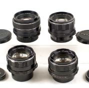 Four Pentax M42 Standard Lenses. Comprising two Super Takumar 50mm f1.4 lenses (#3165421 and