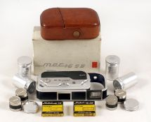 Mec 16SB Sub-Miniature Camera & Accessories. (condition 5F). With Heligon f2 lens. Probably the