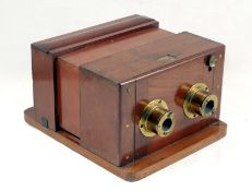 Early Sliding Box Wet Plate Stereo Camera. Makers name plate missing, possibly by Ross. Fitted