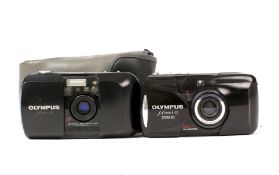 Olympus Mju I and Mju II Zoom 80 Compact Cameras. (condition 5/6F). (Cabinet F)