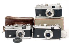 Group of Three OPL Foca * (Star) Cameras, One Boxed. To include Standard and PF1 models. Each with