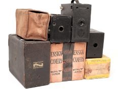 A Box of Box Cameras, Some Boxed. Comprising a Murer's Express Newness, Ensign Model B Junior in