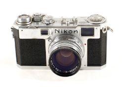 Nikon S2 Rangefinder Camera with Nikkor S C 5cm f1.4 Lens. Camera #6161580 (some wear to chrome,