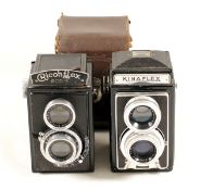 Two 120 Twin Lens Reflex Cameras. Kinaflex with SOM Berthoit Flor f3.5 75mm lens (condition 5F)