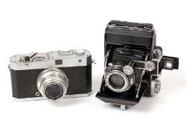 Wenka & Zeiss Ikon Rangefinder Cameras. Comprising an uncommon Wenka II for 24x30mm images on 35mm