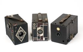Kodak Beau Brownie and Two Other Box Cameras. To include a side-loading Ensign model. (From the