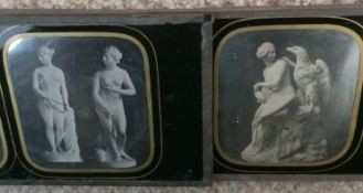 A Pair of Stereo Daguerreotypes of Statues. One showing a pair of 'Greek slave' style statues (one