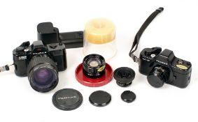 Pentax Auto 110 Mini SLR Collection. Comprising Pentax Auto 110 & Super 110 cameras, uncommon Pan