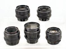 Group of Five Pentax Lenses for Spares or Repair. Comprising Super Takumar 50mm f1.4 (slight