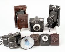 Three Coloured VP Twin & Other Bakelite Style Cameras. To include No 2 Hawkeye, Ilford Envoy,