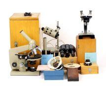 A Good LOMO Microscope Outfit & Accessories. Comprising microscope with standard and binocular (