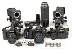 Nikon F90x Film Camera Bodies with Lenses & Bellows Units. To include three F90x bodies, working,