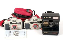 Two Working Canon Prima AS-1 Underwater Cameras & a Polaroid Sun 660 Autofocus. (checked OK with