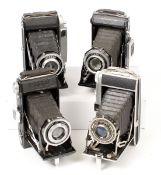 Four French Folding Roll Film Cameras. Comprising Kinax Super with Bellor f3.5 100mm lens; Pontiac