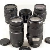 Group of Five Canon Autofocus Lenses, Inc IS Telephoto. Comprising 18-55mm f3.5-5.6 DC; 50mm f1.8 Mk
