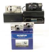 Olympus XA & Mju Compact Cameras. Comprising black XA in presentation box (condition 5F); uncommon