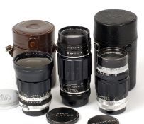Group of Three Pentax M42 Mount Lenses. Comprising 35mm f2.3 Auto-Takumar with caps and case;