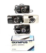 Four Olympus Mju & Stylus Compact Cameras. Comprising 2x Mju Zoom 140, a Mju zoom 105 and a Stylus