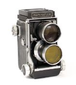 Mamiyaflex C TLR with 135mm f4.5 Lenses. (condition 5/6F) with yellow filter. (Cabinet Ib)