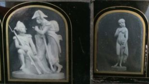 Two Stereo Daguerreotypes of Statues, Napoleonic Soldiers at Rest & a Nymph or Goddess. Former has a