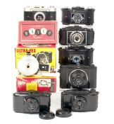 Group of Seven French Bakelite & Plastic Cameras, some Boxed. To include Fex, Banco, Loisirs and