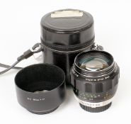 Uncommon Minolta Rokkor PF 85mm f1.7 Portrait Lens. (condition 4/5F) with correct hood and case. (